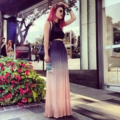 skirt,dip dyed,crop tops,maxi skirt,velvet,crushed velvet,jewels,bag,tank top,ombre,lehappy,ombre skirt