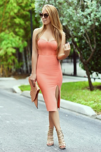 dress peach dress long skirt two piece dress set bustier