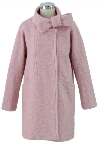 Wool-Felt Tweed Coat with Bowknot in Pink - Retro, Indie and Unique Fashion