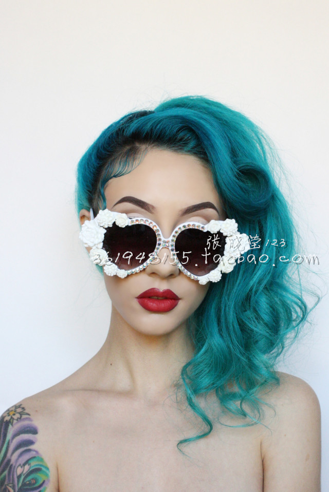 Resin rose flower heart rhinestone pasted sunglasses vintage style props banquet party props on Aliexpress.com