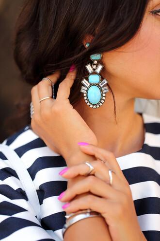 jewels drop earrings blue earrings drop earrings blogger viva luxury stripes ring nail polish nails blue wedding accessory
