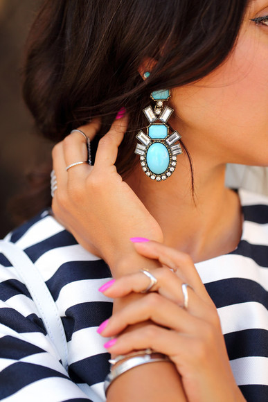 nail polish jewels nails drop earrings blue earrings drop earrings blogger viva luxury stripes ring