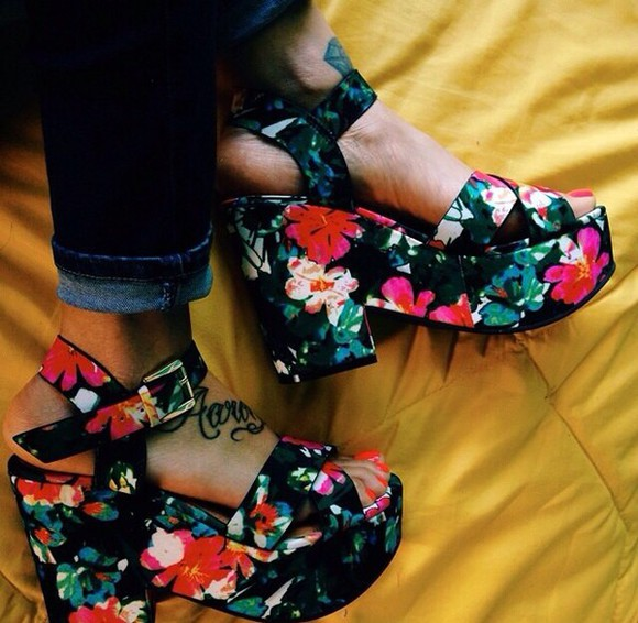 shoes platform shoes sandals high heels floral tropical