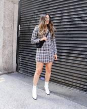 dress,blazer dress,long sleeve dress,check blazer,white boots,ankle boots,crossbody bag,sunglasses