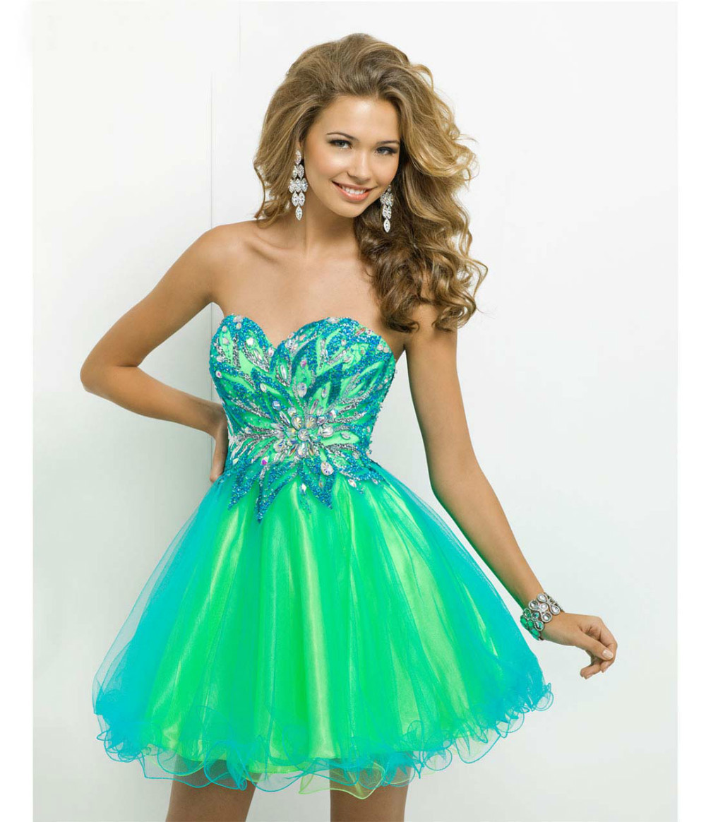 Tulle 2014 Short Prom Dresses Turquoise Lime Strapless Sweetheart Beaded Prom Gown Crystal A line Evening Dresses  -in Prom Dresses from Apparel & Accessories on Aliexpress.com