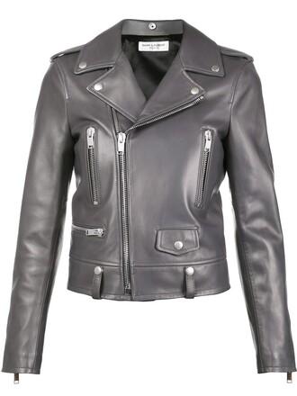 jacket biker jacket women classic leather cotton grey