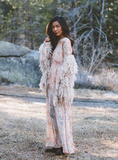 honey n silk,blogger,boho dress,fluffy,long sleeve dress,maxi dress,dress,jacket,shoes