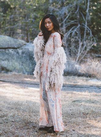 honey n silk blogger boho dress fluffy long sleeve dress maxi dress dress jacket shoes