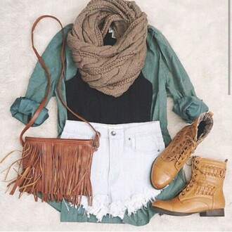 bag shoes scarf cardigan army green blouse blue shirt
