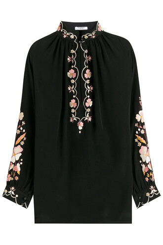 blouse embroidered silk black top