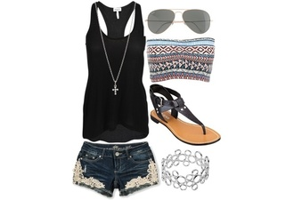shorts lace cutout shorts cross necklace necklace silver tank top black tribal pattern bandeau swimsuit flat sandals bracelets sunglasses aviator sunglasses summer pretty jewels