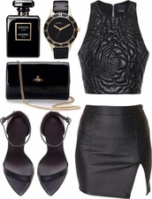 skirt,black,leather,crop tops,strappy,sandals,heels,floral embossed,tank top,top,shoes,jewels,blouse