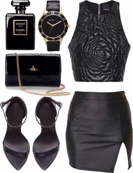 leather sandal skirt black crop tops strappy high heels floral embossed tank top