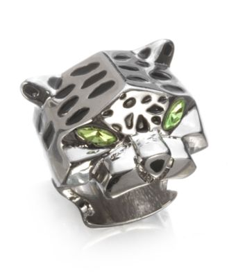 Material Girl Ring, Silvertone Panther Green Crystal Cocktail Ring - Handbags & Accessories Material Girl - Juniors  - Macy's