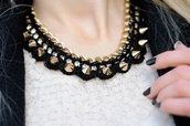 jewels,necklace,shirt,studs,white crop tops,black,gold,bling,chain