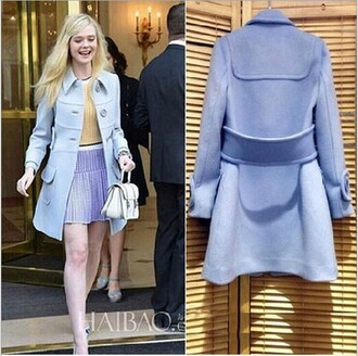 jacket blue dress wool long sleeves buttons belt brands fashion winter coat winter/autumn cashmere in style women clothes overcoat underwear elle fanning