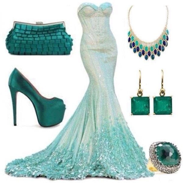 Dress: evening dress, green dress, mermaid wedding dress ...