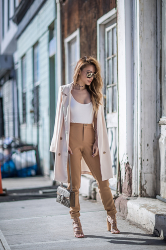 not jess fashion blogger jacket top pants shoes jewels sunglasses bag trench coat gucci bag sandals high waisted pants