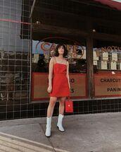 dress,red dress,mini dress,white boots,bag