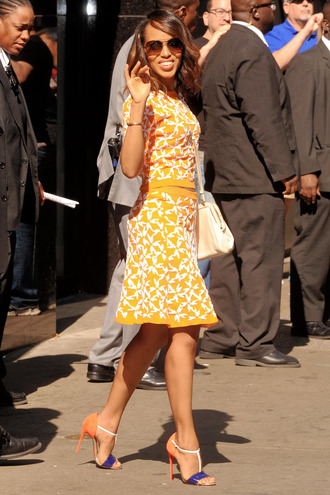 skirt yellow skirt kerry washington celebrity style celebrity yellow top sandals sandal heels high heel sandals multicolor bag white bag sunglasses