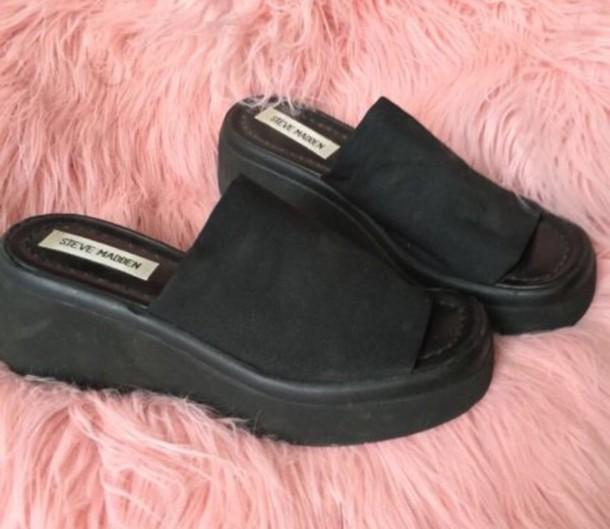 shoes, black, 90s style, sandals, steve