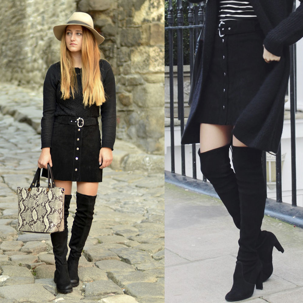 black suede skirt leather belt soft matt snaps mini bloggers A ...