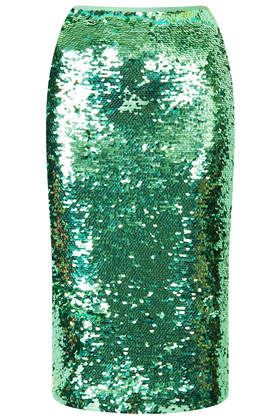 Mint Sequin Pencil Skirt- Topshop