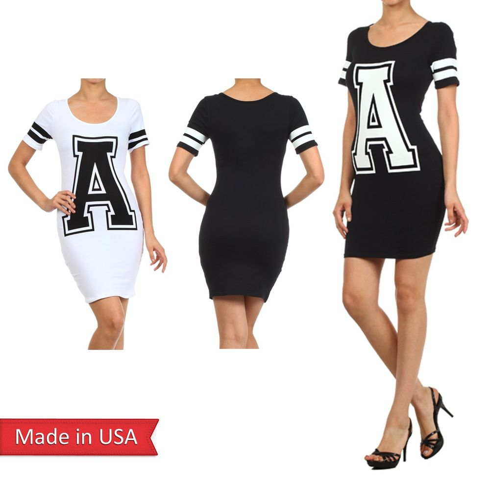 New Cute A Printed Sport Cotton Blend Stripe Short Sleeve Mini Bodycon Dress USA