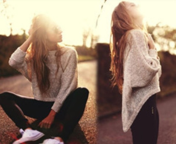 sweater off the shoulder sweater big sweater brown sweater black leggings white converse