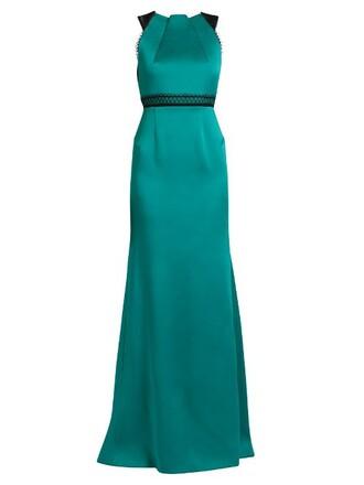 gown lace satin blue dress