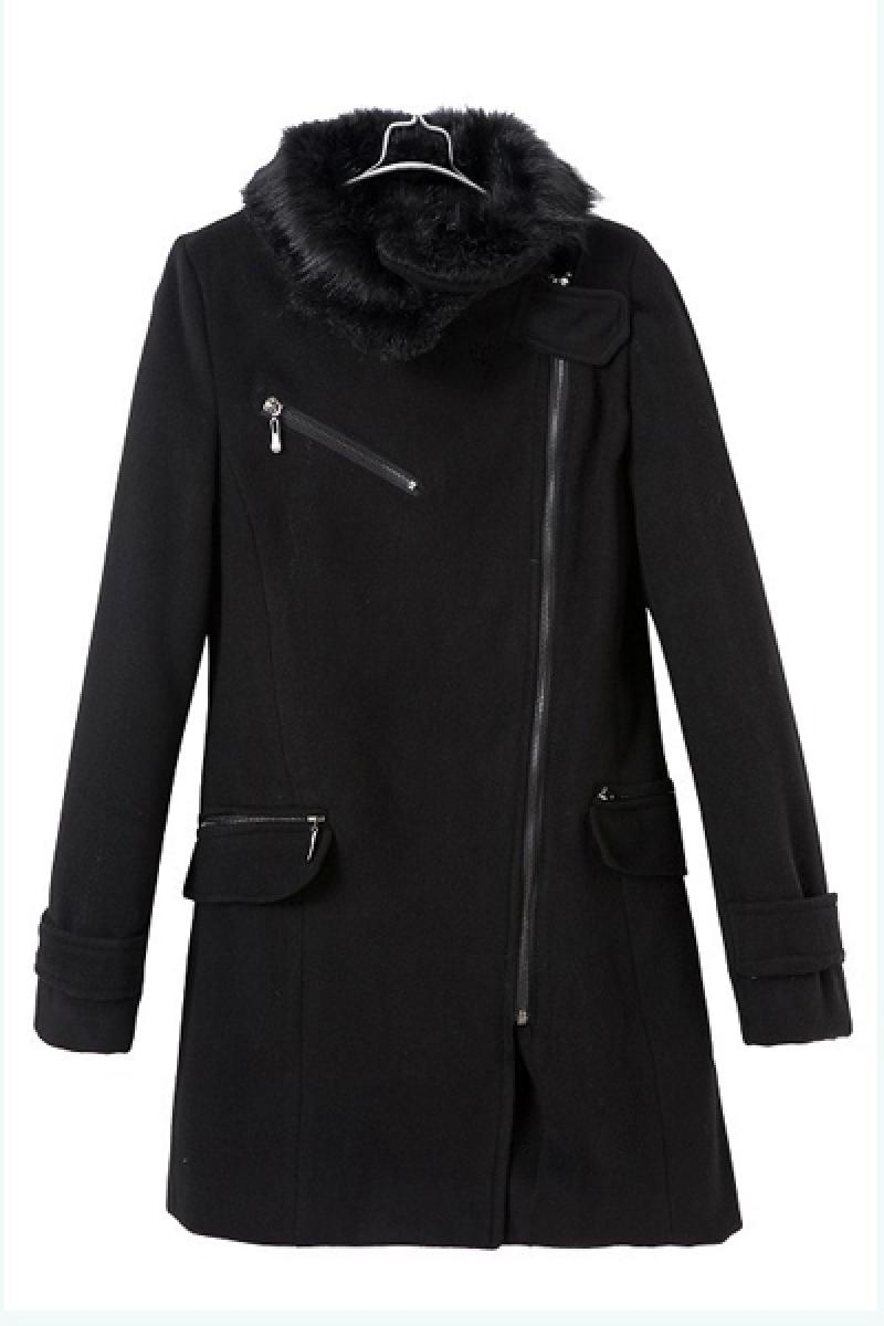 Wool Collar Inclined Zipper Slim Women Overcoat,Cheap in Wendybox.com