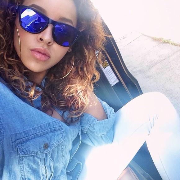 pants sunglasses tinashe white blue sunglasses blue