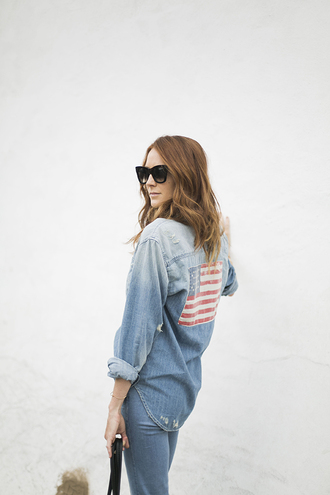 could i have that blogger jeans american flag denim shirt