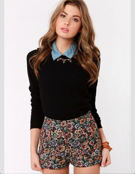 denim sweater collar floral shorts floral skater skirt leather bracelet necklace floral