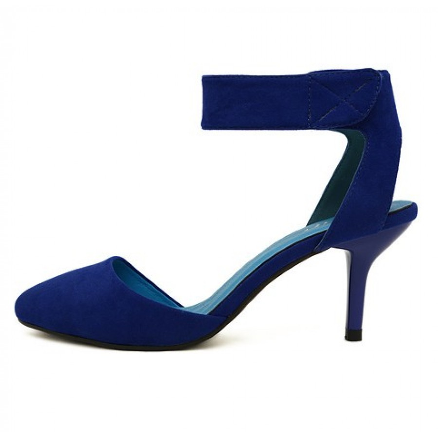 Suede Thick Ankle Strap Pointed Toe High Heels