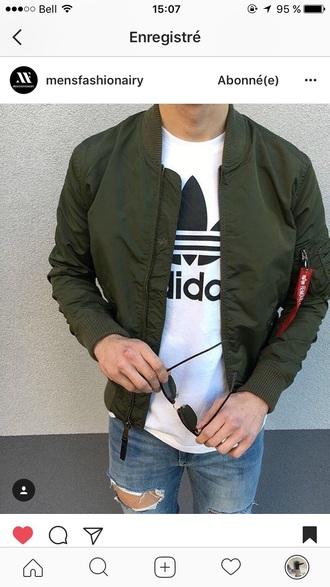 coat green menswear green jacket tommy hilfiger top mens t-shirt adidas adidas originals white t-shirt