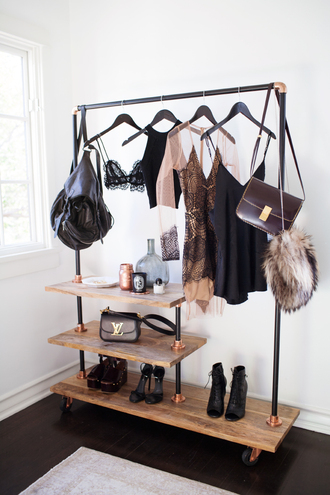 home accessory hangingrail style rose gold closet hanging rail hipster home decor metallic home decor copper clothing rack fashion accessory dress sheer nude nude dress black sheer dress see through dress black dress black lace dress lace nude lace dress black and nude lace dress black and nude bra top shoes bag