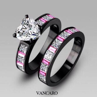 jewels black pink ring amazing cute diamonte crystal black rings style bling diamonds