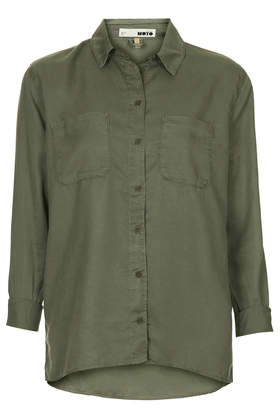 MOTO Khaki Tencel Shirt - Shirts - Tops - Clothing- Topshop USA