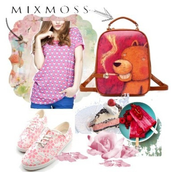 t-shirt pink sunglasses clothes floral mixmoss.com tee backpack girl's clothes
