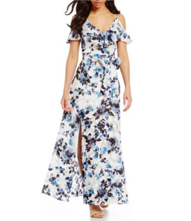 dcf8562356a Eliza J Floral Printed Cold-Shoulder Maxi Dress