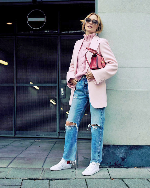 jacket tumblr blazer pink blazer sweater pink sweater cable knit turtleneck turtleneck sweater denim jeans blue jeans ripped jeans sneakers white sneakers