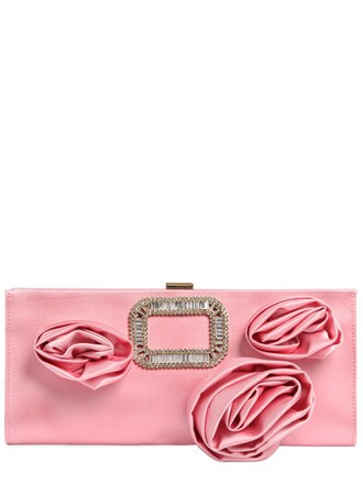 rose clutch silk satin pink bag
