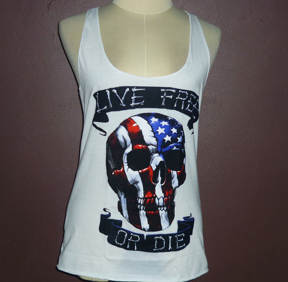 Hippie girl shirt you rock us flag skull tank tops live free or die tee for teen women style punk singlet women's racerback top size s m/l
