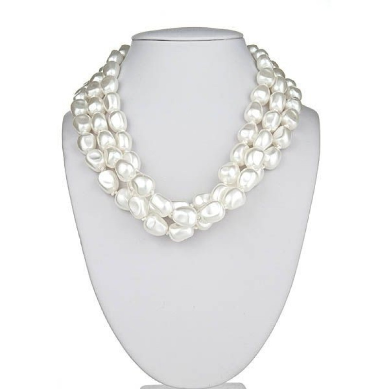 Three Strand Nugget Pearl Necklace {Ships July}