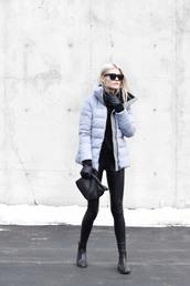 coat,down jacket,tumblr,grey coat,winter outfits,winter coat,pants,black leather pants,leather pants,bag,gloves,boots,sunglasses