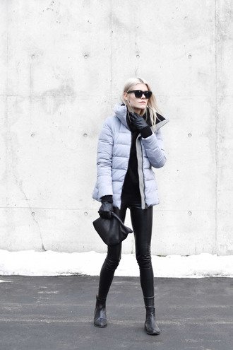 coat down jacket tumblr grey coat winter outfits winter coat pants black leather pants leather pants bag gloves boots sunglasses