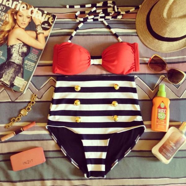 swimwear high waist swimsuit vintage swimwear