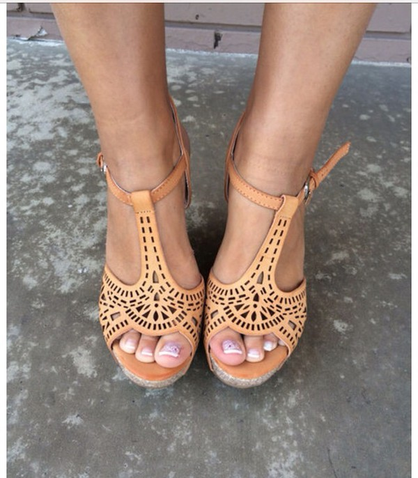 shoes tan wedges caged cute summer