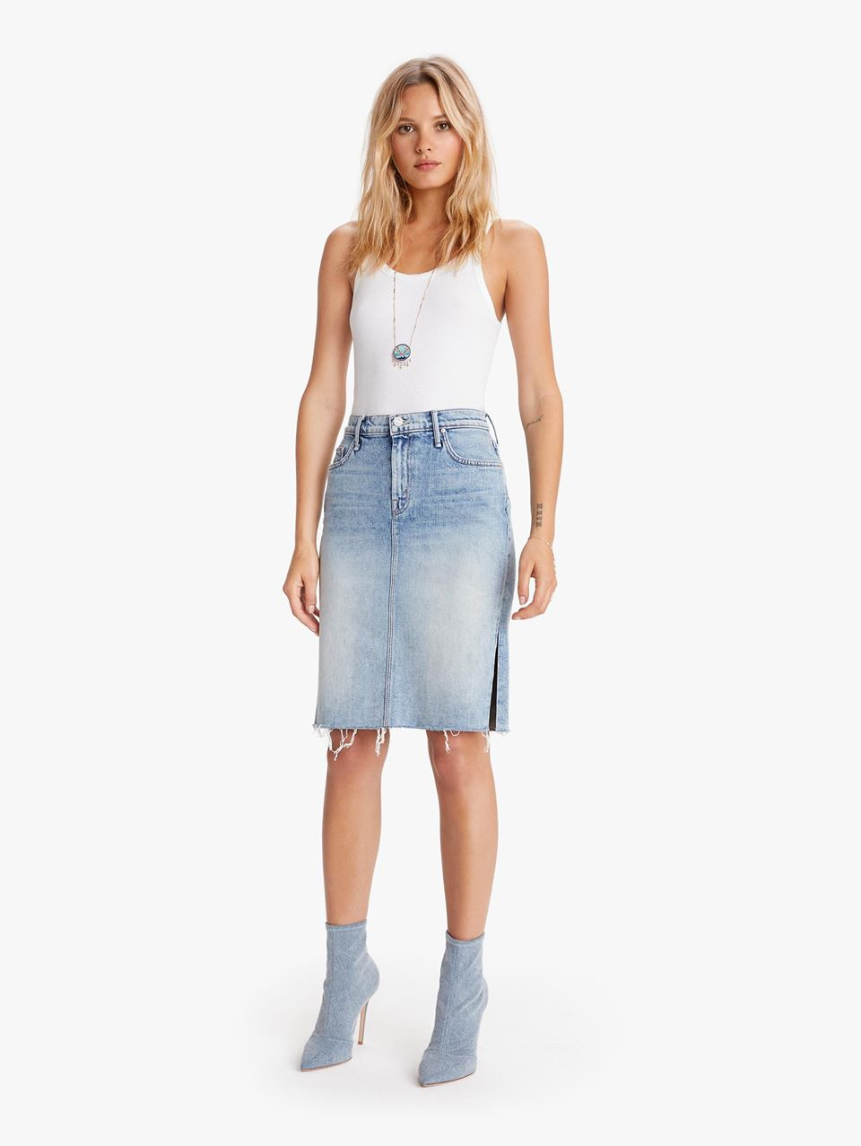 MOTHER The High Waisted Slice Knee Fray Skirt 15 Minutes Of Fame